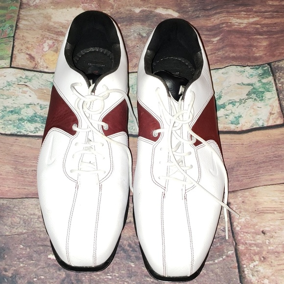 Nike Other - Nike Tiger Woods White Burgundy Golf Cleats